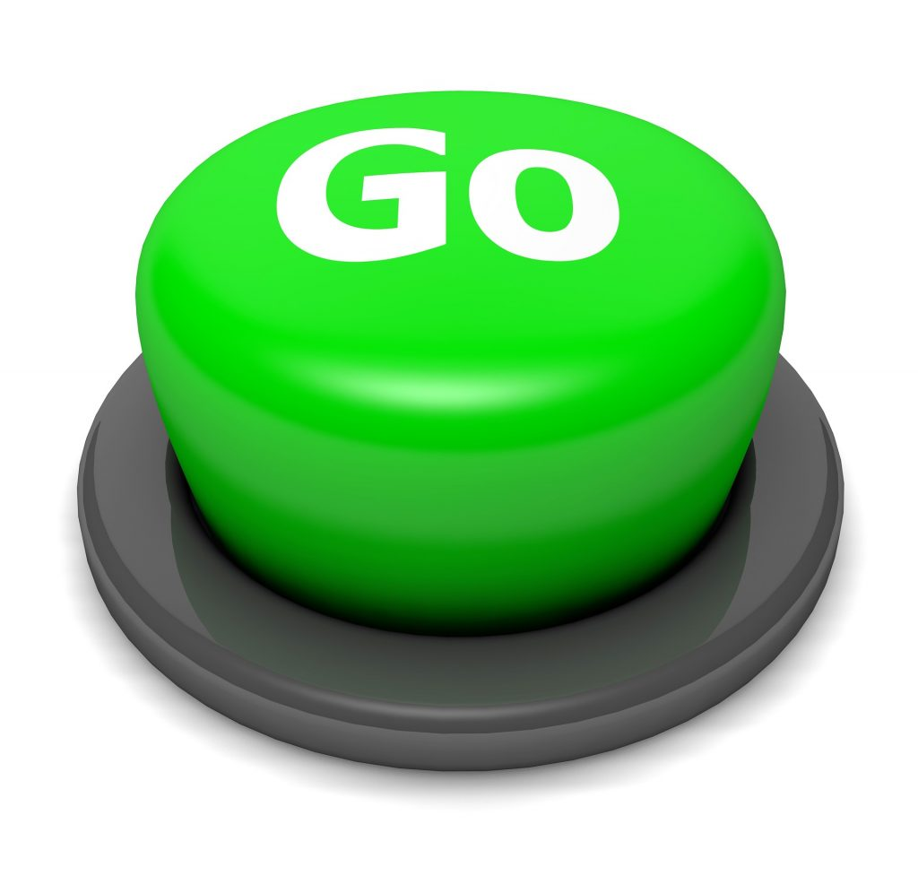 "pressing the green ""go"" button in theme park development"